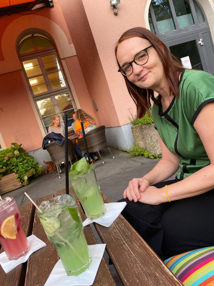 Insa van den Berg beim Treffen der Leipziger Freischreiber-Regiogruppe